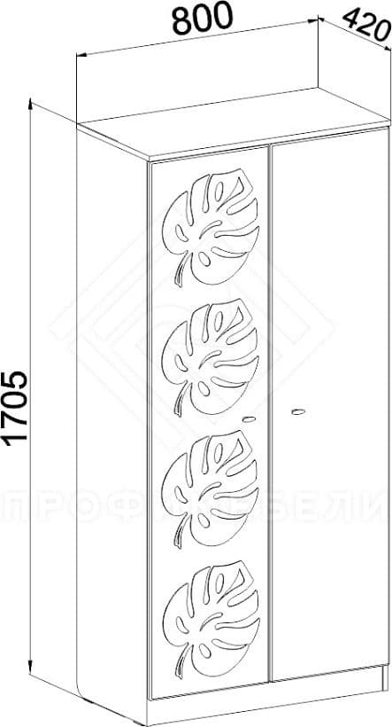 Фото - МДМ-08 Шкаф комбинированный мдф глян Маугли  Береза/Лайм (№2)