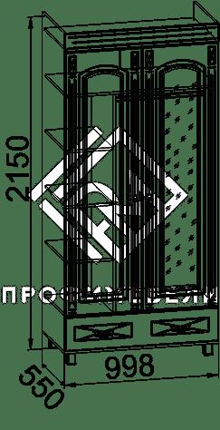 Фото - ЭМ-16 Шкаф платяной с зеркалом мдф мат Элизабет  Береза (№2)