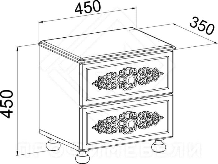 Фото - АС-04 Тумба прикроватная с ящиками мдф мат. Ассоль  Белое дерево (№2)