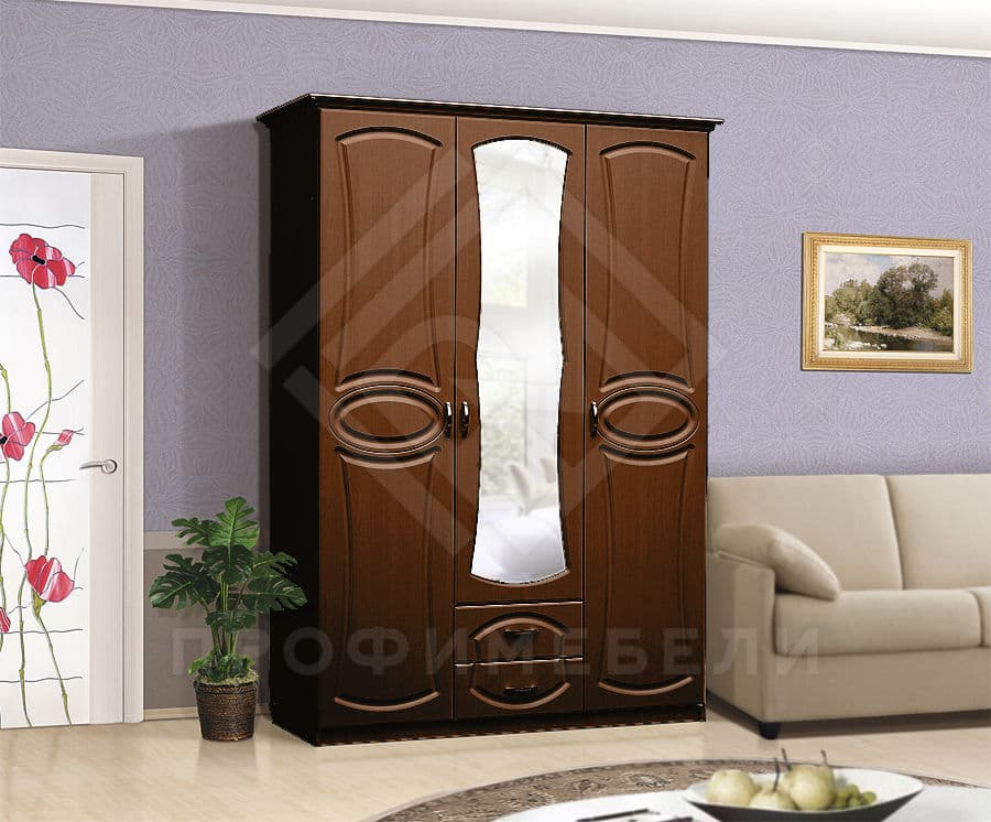Фото - Мечта Шкаф 3-х дверный с зеркалом на 1500 мдф мат  Итальянский орех (№1)