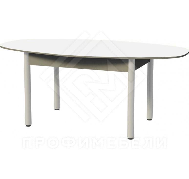 Фото - Стол обеденный парабола (1200)  ноги хром, пластик белый (№1)