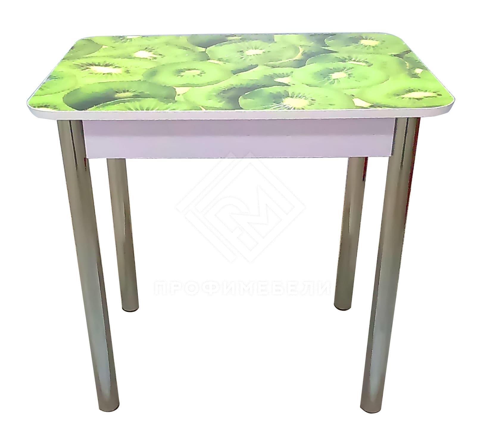 Фото - Стол обеденный прямоугольный с фотопечатью (800) ноги хром, МДФ киви (№1)