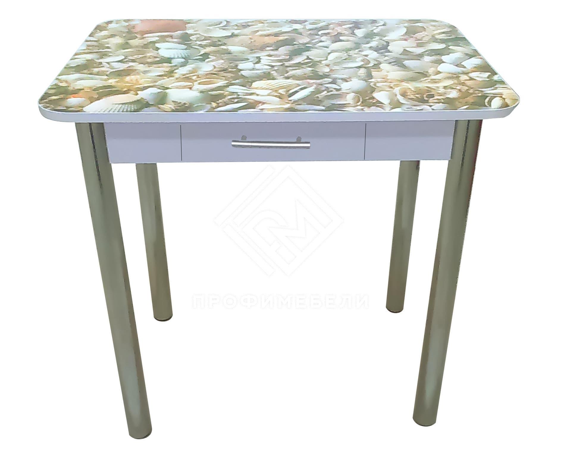 Фото - Стол обеденный прямоугольный с ящиком  и  фотопечатью (800) ноги хром, МДФ ракушки (№1)