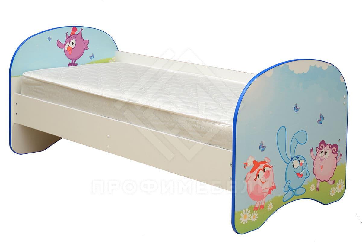 Фото - Кровать детская с фотопечатью Смешарики без ящика 800*1600 лдсп белый (№1)