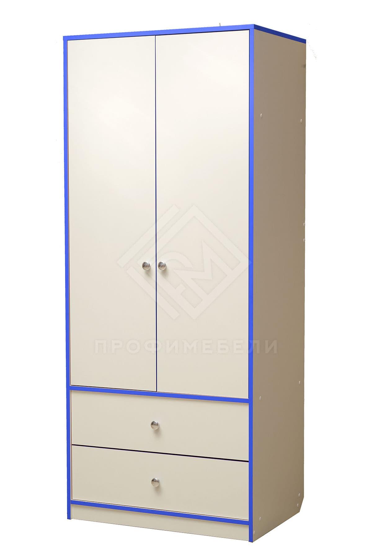 Фото - Юниор-10 Шкаф для платья и белья лдсп Белый с синей кромкой (№1)