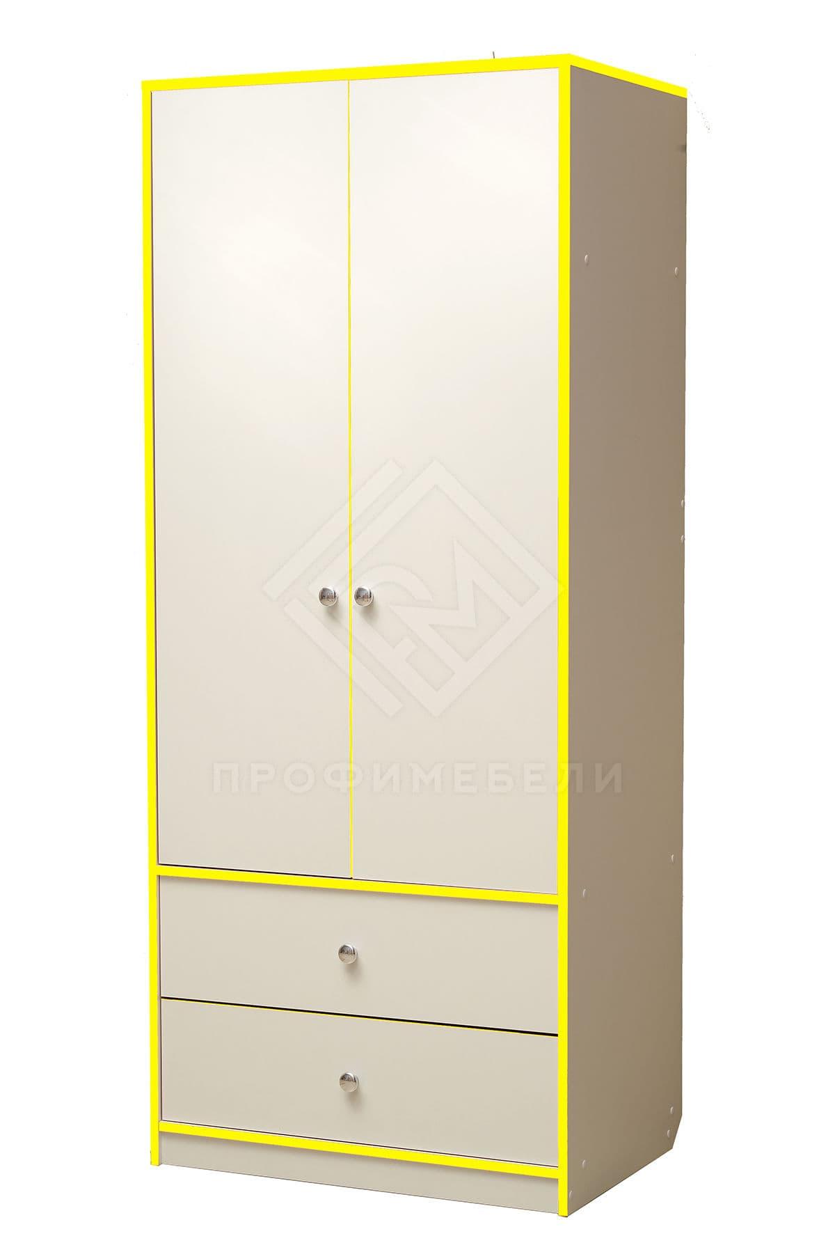 Фото - Юниор-10 Шкаф для платья и белья лдсп Белый с желтой кромкой (№1)