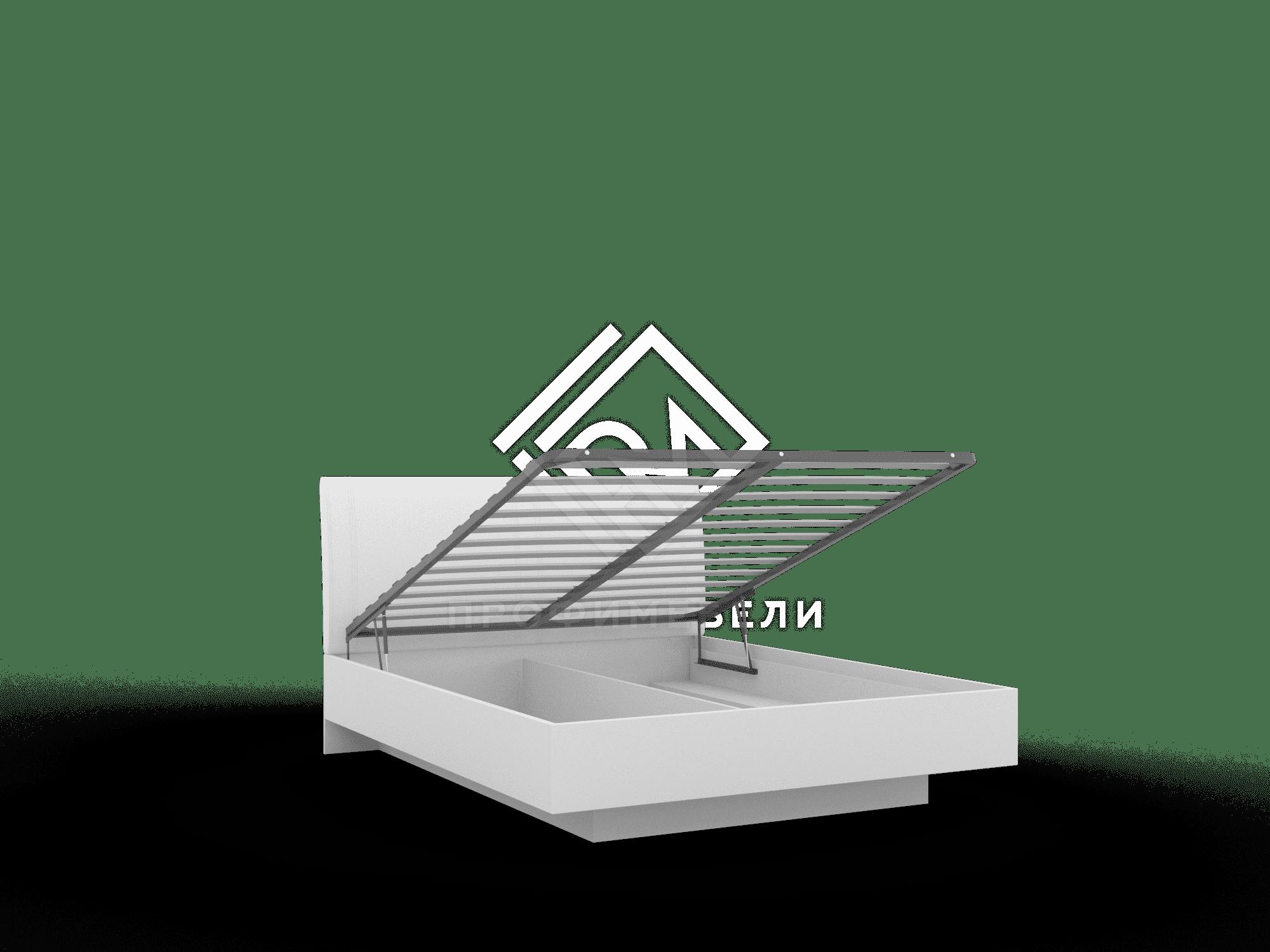 Фото - ALBERTA. Кровать Кр-05 (1600) с ПМ + основание белый с порами/белый мягкий блеск (№2)
