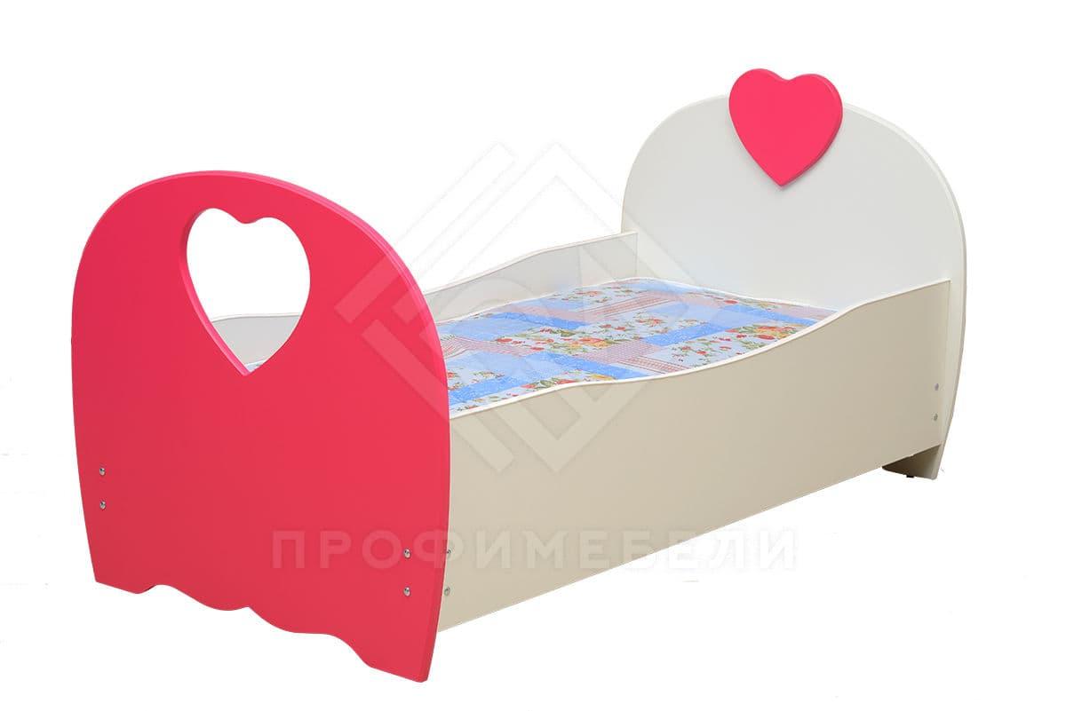Фото - Кровать детская Сердце, 800х1900 мдф мат белый/малина (№2)