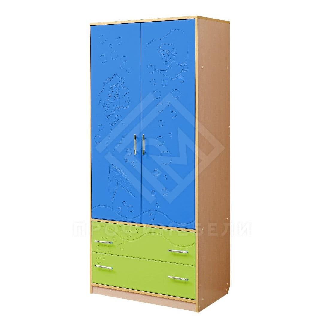 Фото - Юниор-12.2, Шкаф для платья и белья дуб молочный/светло-зеленый мат/синий матовый (№1)