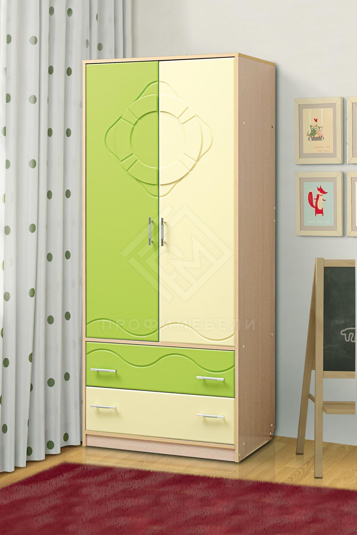 Фото - Юниор-12.1, Шкаф для платья и белья дуб молочный/светло-зеленый мат/ваниль матовый (№1)