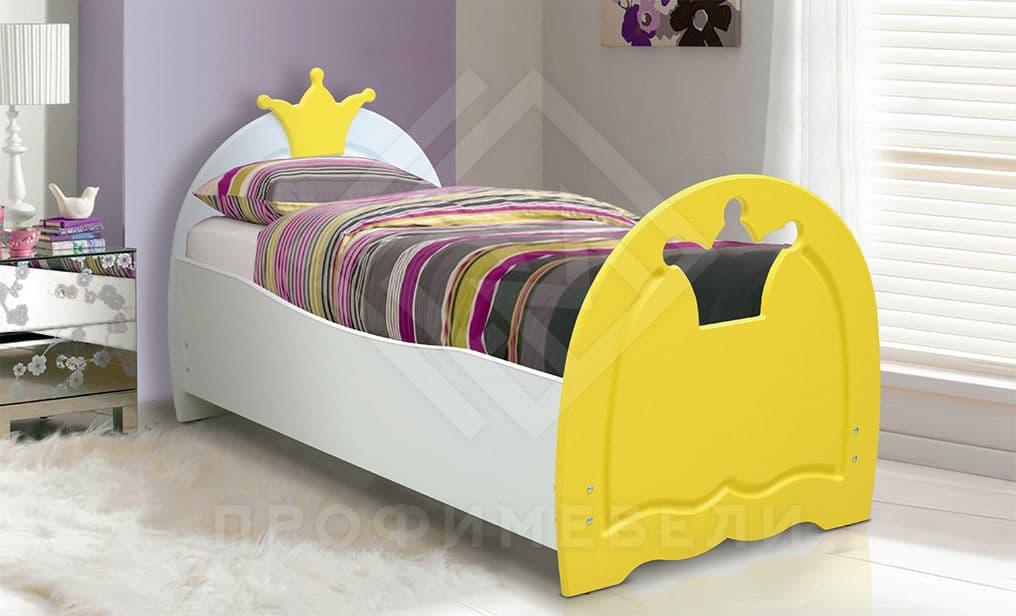 Фото - Кровать детская Корона, 800х1900 мдф мат белый/желтый (№1)