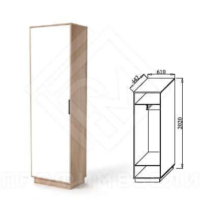 Фото - Визит-3 В3-Ш Шкаф для платья лдсп белый/дуб ирландский (№2)