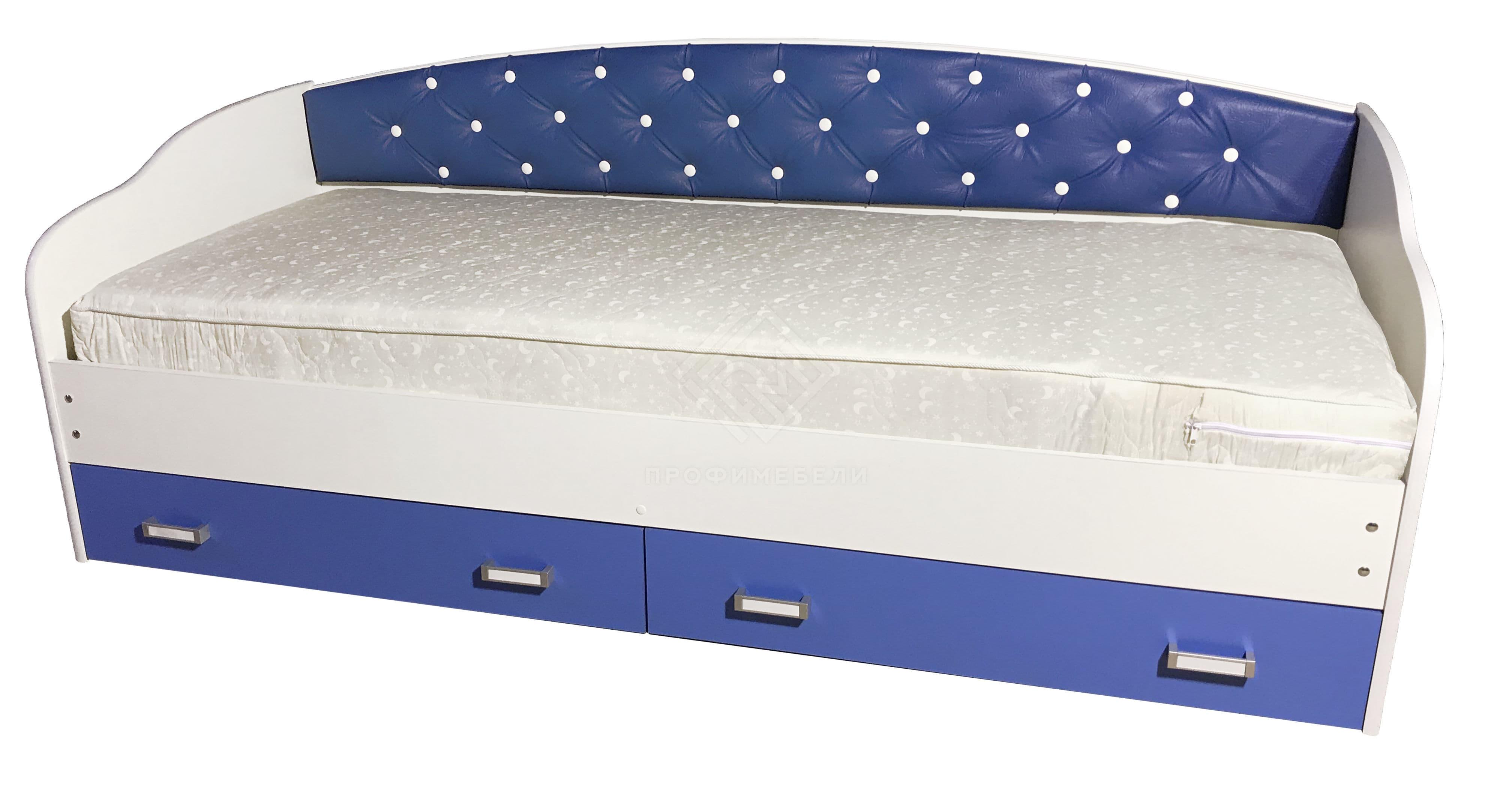 Фото - Кровать Софа-8 с мягкой накладкой (900х2000) лдсп Венге/белый (ПРОФИ) (№1)