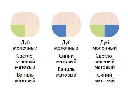 Фото - Уголок Школьника с рисунком 12.1  мдф дуб молочный/светло-зеленый мат/синий матовый (№2)