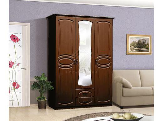 Фото - Мечта Шкаф 3-х дверный с зеркалом на 1350 мдф мат  Итальянский орех (№1)