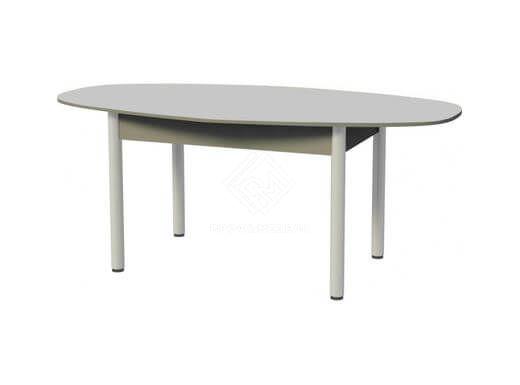 Фото - Стол обеденный парабола (1200)  ноги хром, пластик серый (№1)