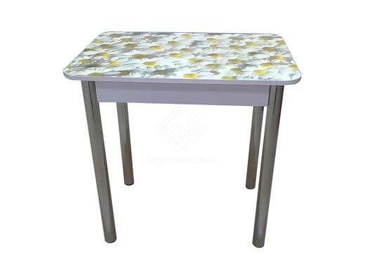 Фото - Стол обеденный прямоугольный с фотопечатью (800) ноги хром, МДФ ромашки (№1)