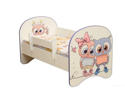 Фото - Кровать детская с фотопечатью Совята без ящика 800*1600 лдсп белый (№1)