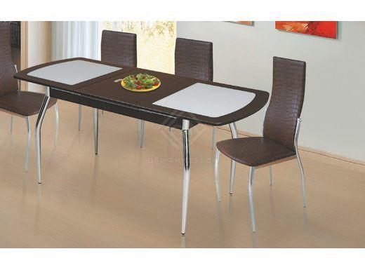 Фото - Стол обеденный раздвижной со стеклом 1200х700 мдф мат Венге\Стекло серое (№1)