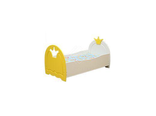 Фото - Кровать детская Корона, 800х1900 мдф мат белый/желтый (№2)