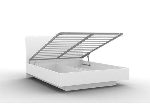 Фото - ALBERTA. Кровать Кр-05 (1600) с ПМ + основание белый с порами/белый мягкий блеск (№1)
