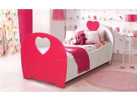 Фото - Кровать детская Сердце, 800х1900 мдф мат белый/малина (№1)